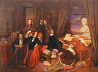 Josef Danhauser: Franz Liszt at the Piano, 1840. Seated are Alexandre Dumas Sr., George Sand, and Marie d'Agoult; standing are Hector Berlioz, Nicolò Paganini, and Gioachino Rossini. On the piano is a bust of Beethoven by Anton Dietrich,and on the wall is a portrait of Byron.