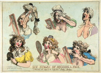 Thomas Rowlandson: Six Stages of Mending a Face, Dedicated with Respect to the Right Hon.ble Lady Archer, May 29, 1792; from the exhibition 'Infinite Jest: Caricature and Satire from Leonardo to Levine,' on view at the Metropolitan Museum of Art, New York City, through March 4, 2012