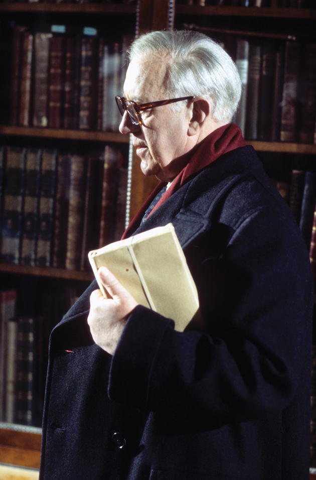 Alec Guinness as George Smiley in the BBC miniseries Tinker, Tailor, Soldier, Spy, 1979