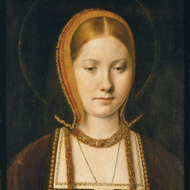 Catherine of Aragon after the death of her first husband, Prince Arthur, in 1502 and before her marriage to Henry VIII in 1509; painting by Michiel Sittow, circa 1503–1505