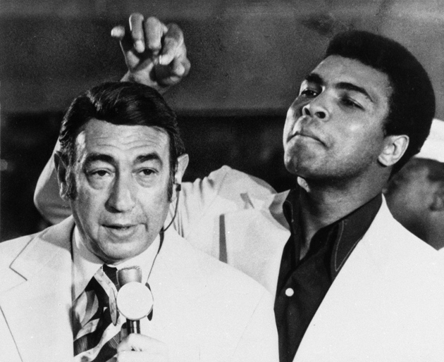 Howard Cosell and Muhammad Ali before the start of the Olympic boxing trials, West Point, New York, August 7, 1972