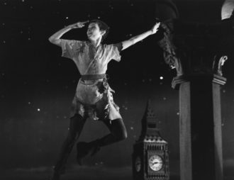 Mia Farrow pointing the way to Neverland in a television production of Peter Pan, 1976