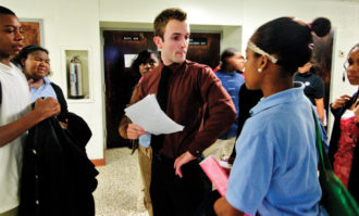 David Donaldson, a high school teacher in the Teach for America program, with his students at the Maryland Academy of Technology and Health Sciences, Baltimore, December 2009