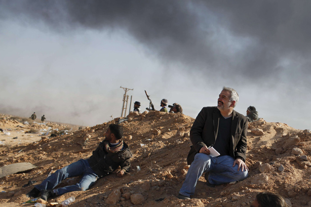 Anthony Shadid on the front line in Ras Lanouf, Libya, March 11, 2011