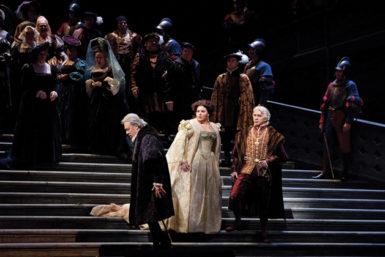 Ferruccio Furlanetto as de Silva, Angela Meade as Elvira, and Dmitri Hvorostovsky as Don Carlo in Act 2 of Verdi's Ernani at the Metropolitan Opera in New York City