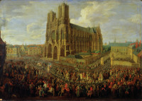 The procession of King Louis XV after his coronation at Reims Cathedral in 1722; painting by Pierre-Denis Martin, 1724