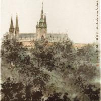 Fu Baoshi: Prague Castle, 1957