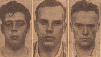 Mug shots of the three defendants represented by Irving Morris in the Delaware rape case: Francis J. Curran, Ira E. Jones, and Francis J. Maguire