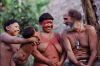 Sydney Possuelo (right), founder and director of Brazil's Department of Isolated Indians, with members of the Korubo tribe in the Amazon River basin, 2002