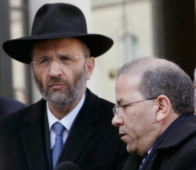 The Chief Rabbi of France Gilles Bernheim and the President of the French Council of Muslim Faith Mohammed Moussaoui after meeting with French President Nicolas Sarkozy, Paris, March 21, 2012