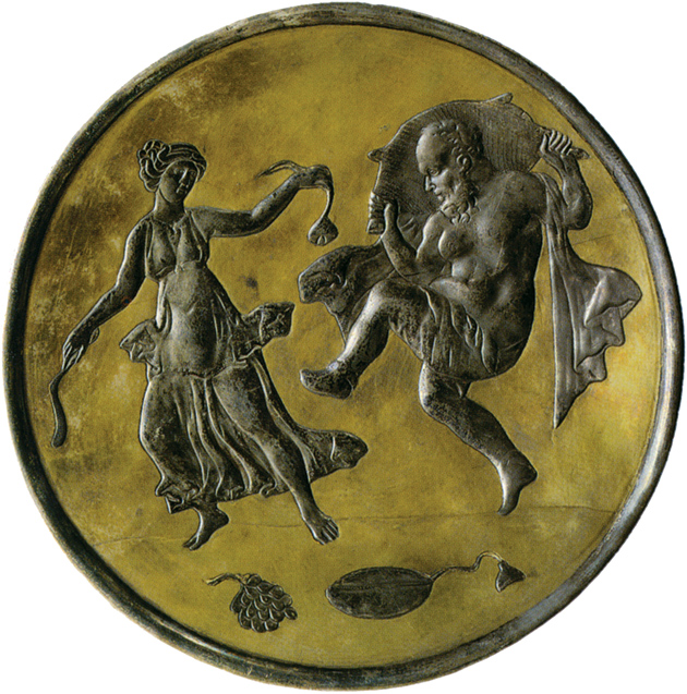 A silver plate from Constantinople depicting two companions of Dionysos, Silenus and a Maenad, 613–630. Images from classical mythology persisted in Byzantine art well into the Christian era, and in Middle Eastern art long after the Islamic conquest.