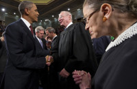 President Barack Obama greeting Supreme Court Justices Anthony Kennedy and Ruth Bader Ginsburg before his State of the Union address, Washington, D.C., January 24, 2012
