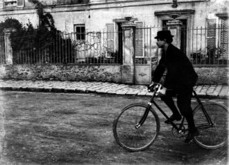 Alfred Jarry in front of 'the Phalanstery,' a vacation home he rented in Corbeil with a number of other writers, 1898