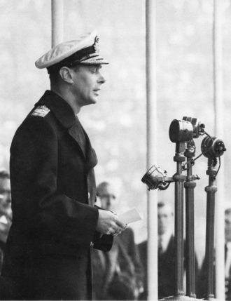 King George VI of England during one of his first broadcasts, 1937