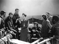 John Hodiak, Walter Slezak, Hume Cronyn, Tallulah Bankhead, Heather Angel, Mary Anderson, Henry Hull, and Canada Lee in Alfred Hitchcock's Lifeboat, 1944