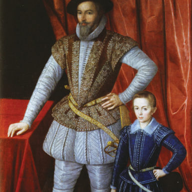 Sir Walter Ralegh and his son, Walter, 1602; artist unknown