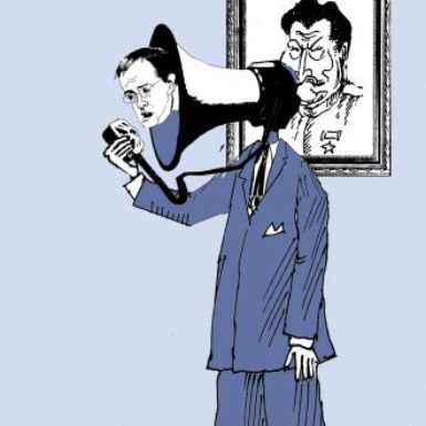A cartoon of Vladimir Medinsky which appeared in the Moscow Times