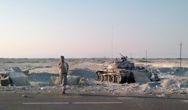 A Yemeni military position in Zinjibar, Yemen on the main highway between the city and Aden on December 28, 2011