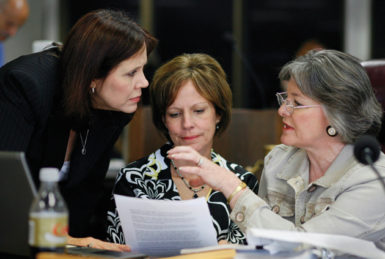 Texas State Board of Education members Cynthia Dunbar, Barbara Cargill, and Gail Lowe discussing curriculum standards, Austin, May 2008. Cargill, who was appointed chairwoman last year by Governor Rick Perry, has expressed concern that there are now only 'six true conservative Christians on the board.'