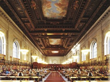 The Rose Main Reading Room at the 42nd Street branch of the New York Public Library; photograph by Anne Day from the new edition of Henry Hope Reed and Francis Morrone's The New York Public Library: The Architecture and Decoration of the Stephen A. Schwarzman Building. It is published by Norton.