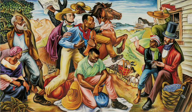 Hale Aspacio Woodruff: The Underground Railroad, 68 3/16 x 123 1/2 inches, 1942; from the exhibition 'Rising Up: Hale Woodruff's Murals at Talladega College,' at the High Museum of Art, Atlanta, June 9–September 2, 2012. The catalog, by Stephanie Mayer Heydt, is published by the museum and distributed by University of Washington Press.