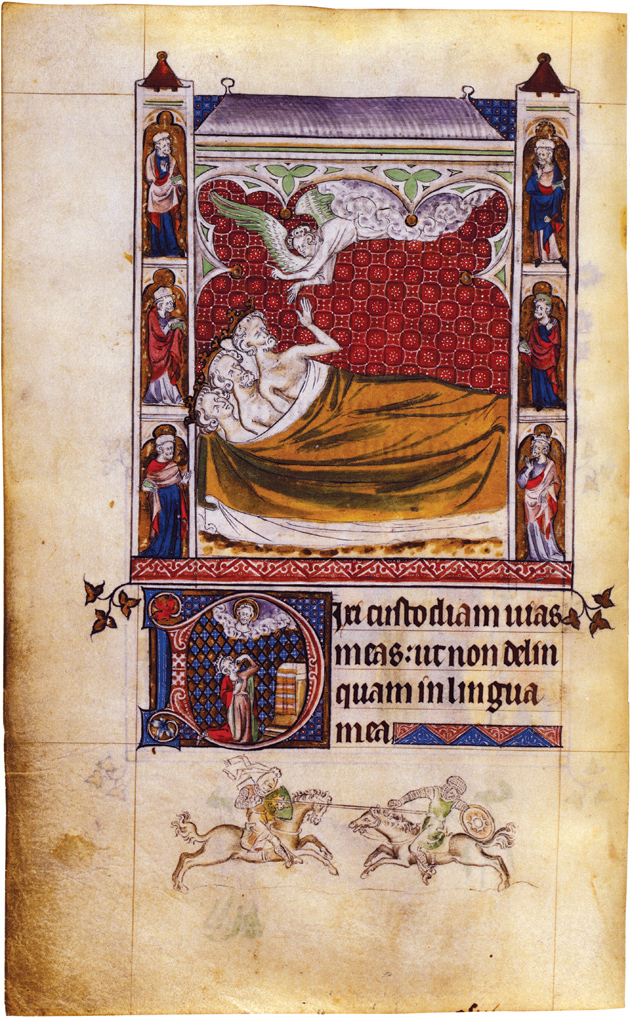 An angel appearing to the Magi, from The Queen Mary Psalter, circa 1310–1320