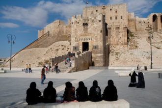 The Citadel, the medieval fortress at the center of Aleppo, Syria. The city has recently been the scene of clashes between government forces and opposition groups.
