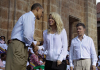 President Obama with the Colombian singer Shakira and Colombian President Juan Manuel Santos in Cartagena, where he was attending the Summit of the Americas, at which leaders openly discussed the legalization of drugs for the first time, April 15,2012