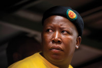 Julius Malema during an ANC Youth League march, Johannesburg, October 27, 2011. Malema, who was fired as president of the Youth League in November 2011 and expelled from the ANC in February 2012 for bringing the party 'into disrepute' with his inflammatory and racially tinged populism, has repeatedly attacked South African President Jacob Zuma, leading to a bitter split within the ANC.