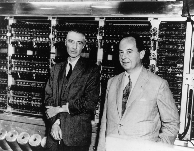 Robert Oppenheimer and John von Neumann in front of MANIAC, the first digital computer, at the Institute for Advanced Study, Princeton, 1952