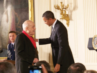 Charles Rosen receiving the National Humanities Medal from President Obama at the White House, February 2012