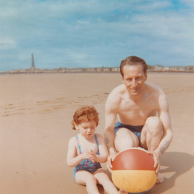 Jeanette Winterson and her adoptive father at the beach in Blackpool, England, 1964