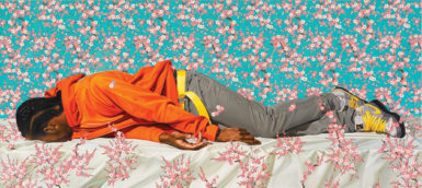 Kehinde Wiley: The Virgin Martyr St. Cecilia, 101.5 x 226.5 inches, 2008; from Kehinde Wiley, a monograph of Wiley's paintings of contemporary African-Americans in heroic poses, just published by Rizzoli. Two exhibitions of his work are on view in New York City this spring: 'Kehinde Wiley/The World Stage: Israel,' at the Jewish Museum, March 9–July 29, 2012; and 'An Economy of Grace,' at the Sean Kelly Gallery, May 6–June 16, 2012.