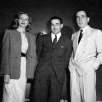 Lauren Bacall, David Goodis, and Humphrey Bogart on the set of <i>Dark Passage</i>, 1947