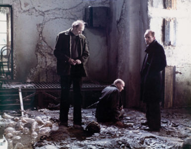 Nikolai Grinko as 'Professor,' Alexander Kaidanovsky as 'Stalker,' and Anatoli Solonitsyn as 'Writer' in Andrei Tarkovsky's film Stalker, 1979