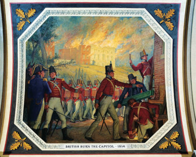 Allyn Cox: British Burn the Capitol, 1814, a 1974 mural on the ceiling of the Hall of Capitols in the US Capitol, Washington, D.C.