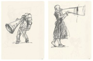 Pages from William Kentridge's notebooks for The Refusal of Time