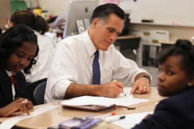 Republican candidate Mitt Romney participating in a 6th grade class at Universal Bluford Charter School, Philadelphia, Pennsylvania, May 24, 2012.