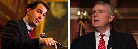 Wisconsin Governor Scott Walker and Milwaukee Mayor Tom Barrett