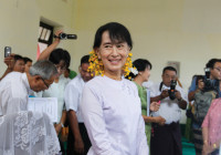 Aung San Suu Kyi at the Thanlyin township election office on the outskirts of Rangoon, after winning a seat in Burma's parliament, May 9, 2012