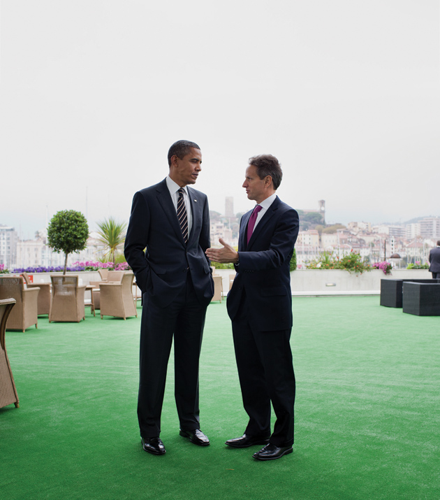 President Barack Obama and Treasury Secretary Timothy Geithner during the G20 summit in Cannes, France, November 2011