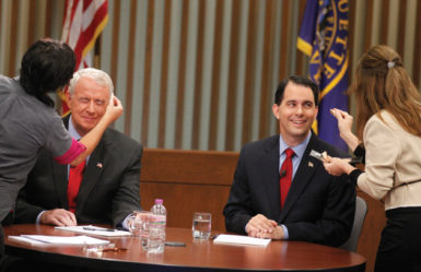 Wisconsin Republican Governor Scott Walker, right, and his Democratic challenger in the recall election, Tom Barrett, before a television debate, Milwaukee, May 31, 2012. Walker won the election on June 5 with 53 percent of the vote to Barrett's 46 percent.