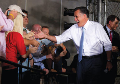 Mitt Romney during a campaign stop at Southwest Office Systems, Fort Worth, Texas, June 5, 2012