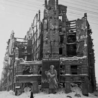 A bomb-damaged house on Ligovka Street, Leningrad, 1942