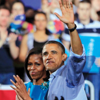 President Obama and Michelle Obama after a campaign rally in Columbus, Ohio, May 5, 2012