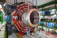 The central part of the Compact Muon Solenoid is lowered into place, Cessy, France, February 28, 2007