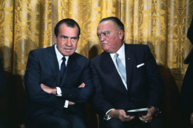 J. Edgar Hoover with President Nixon at an FBI Academy graduation ceremony held at the White House, May 1969. Hoover named Nixon an honorary member of the FBI.