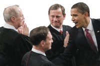 President Obama with Supreme Court Justices Anthony Kennedy, Samuel Alito, and John Roberts before addressing a joint session of Congress, Washington, D.C., February 2009