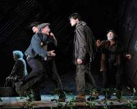 Michael Glenn Murphy (Justice of the Peace), Frank O'Sullivan (Brian O'Riordan), Gavin Drea (Liam Dougan), and John Olohan (Dan O'Dea) in Garry Hynes's production of Tom Murphy's Famine, the third part of the DruidMurphy cycle, New York City, July 2012