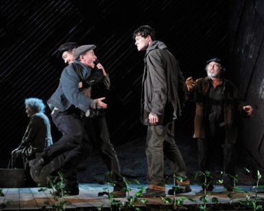 Michael Glenn Murphy (Justice of the Peace), Frank O'Sullivan (Brian O'Riordan), Gavin Drea (Liam Dougan), and John Olohan (Dan O'Dea) in Garry Hynes's production of Tom Murphy's Famine, the third part of the DruidMurphy cycle, New York City, July 2012